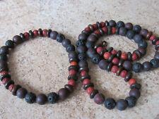 Handmade Lava, Bloodstone&Buffalo Bones Diffuser Unisex Bracelet/Necklace Set