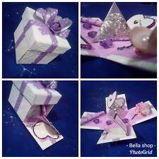 Exploding mini box valentine birthday wedding gift silver flake purple ribbon