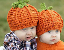 Newborn Baby Crochet Knit Costume Photo Photography Prop Outfits Hat pumpkin