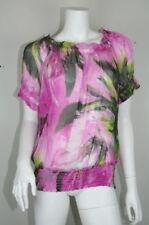 Karen Kane Fuchsia Floral Silk Sheer Smocked Tunic Blouse XL 16 18