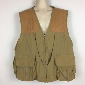 Cabela's Men's XXL 2XL Hunting Shooting Vest Shell Pockets Tan Suede Shoulders
