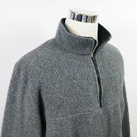 J Crew Mens Large USA Made Fleece Pullover Jacket Half Zip Gray Poly Casual