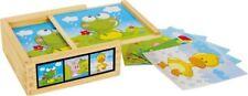 puzzle 3d a dadi animali legno 6 combinazioni gioco/giocattolo bambino/bambina