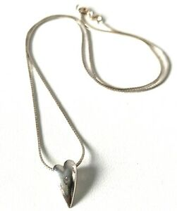 Solid Sterling silver Mirror Finish Snake Link Chain & Heart Pendant Necklace