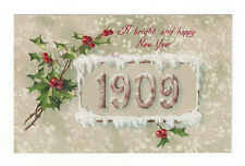 """Vintage Postcard """"A bright and happy New Year"""" 1909 Holly Germany Embossed"""