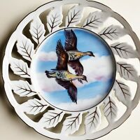 """Vintage Hand Painted 8"""" Birds in Flight Plate Reticulated Leaf Edge Made Japan"""