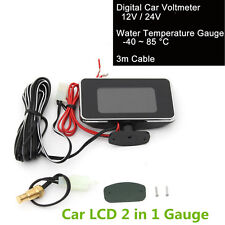 2 in 1 Car SUV 9-36V LCD Digital Display Voltmeter Gauge/Water Temp Temperature