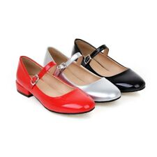 women casual patent leather Mary Janes pure colors ankle strap pumps shoes sizes
