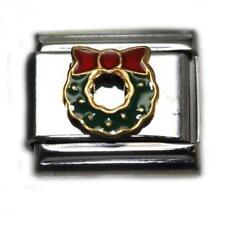 Christmas Wreath Italian Link Bracelet Charm