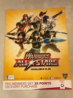 "Warriors All Stars Gamestop Promo Poster 22x28"" Game Dynasty Warriors PS4"
