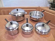9pc Vintage STEELCO Stainless Steel Waterless Cookware Pots Pans Skillet