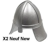 Lego 2 casques argentés Neufs Metallic Silver Minifig castle helmet NEW REF 3844
