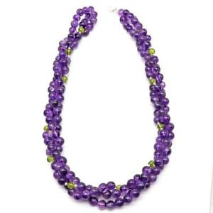 AMETHYST PERIDOT Smooth round Beads STERLING Silver lobster Clasp Necklace