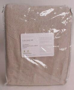 Pottery Barn Classic Belgian Linen rod pocket curtain drape 100x108, dark flax