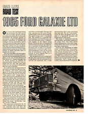 1965 FORD GALAXIE LTD 390/300 HP ~ ORIGINAL 4-PAGE ROAD TEST / ARTICLE / AD