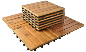 10er Set Holzfliesen Terrassenfliesen 30x30cm Balkon Klickfliesen Boden 5100