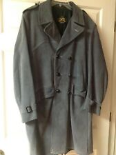 Vintage Ideal Men's Genuine Leather Gray Full Length Trench Over Coat Size 42