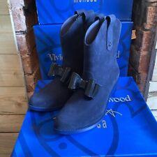 BNIB Vivienne Westwood Melissa Anglomania Navy Flock Boots Bow EU 35/36