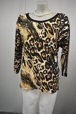 RICARDA M.Damen Langarmshirt Bluse Gr. 42 Stretch Leo Muster Strass  TOP