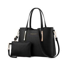 Womens Ladies 2pcs Leather SHOPPER Clutch Hobo Shoulder Bag Handbag Purse Tote Black