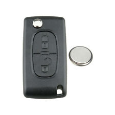 For Peugeot 207 307 308 2 Button Replacement Flip Key Fob Cover Case + battery
