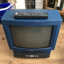 Sony Trinitron CRT-TV & VCR Kv-14v6u Retro Gaming Modified Blue Colour
