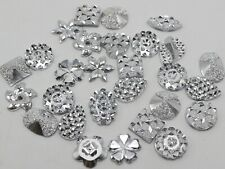 200 Assorted Silver Flatback Resin Glitter Cabochons Appliques For phone/wedding