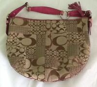 COACH Signature Patchwork Large Hobo Bag Purse C05Q-3688 Brown With Pink Suede