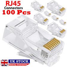 100X RJ45 Network LAN CAT6 Cable End Crimp Plug Connectors Gold Pins Bulk Buy