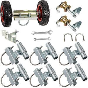 Rolling Sliding Chain Link Fence Gate Hardware Kit Wheel Carrier Latch Brackets