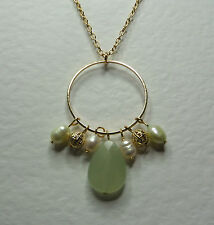 "PALE GREEN AGATE & FWP PEARL DANGLY HOOP NECKLACE GOLD PLATED 18"" 45 cm PLUS EXT"