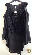NWT Classique Sz L Black Hi-Lo Open Shoulder Boutique Blouse Top w/Velvet Design