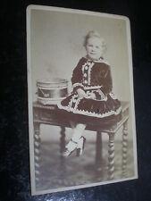 Cdv old photograph girl with drum by Dighton at Cheltenham c1870s