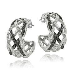 1/4 Ct Black & White Diamond Weave Half Hoop Earrings