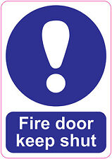 FIRE DOOR KEEP SHUT LARGE Sign Stickers health Safety warning 148x210mm