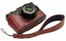 Genuine leather half case & Hand strap for FujiFilm X10 X20 / Wine / Body Jacket