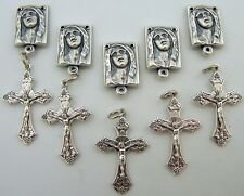 Crucifix Cross Rosary Center Piece Parts Silver Lot 10