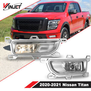 Fits 20-21 For Nissan Titan Fog Lights Lamp OEM Switch Wiring Kit Clear Lens PAI