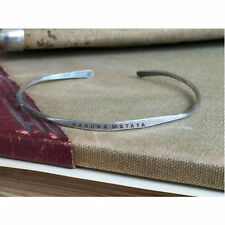 HAKUNA MATATA - Hand Stamped Cuff Thin Stacking Bracelet Personalized Custom