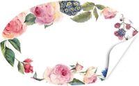 20 oval Aufkleber selbst beschriften Etikett Sticker Gast-Geschenk Rosen Rosa