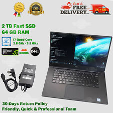 READ👇 Dell XPS 15.6 64GB RAM 2TB SSD i7 2.8GHz GF 4GB Windows 10 Pro Laptop>1TB