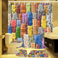 4Pcs/set Bathroom Shower Curtain Colorful Cat Bath Non-Slip Toilet Mat Rug Set