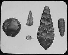 Glass Magic Lantern Slide FLINT SPEAR HEAD KNIFE & SCRAPERS C1890 PHOTO