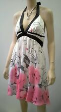 LOVE AFFAIR Size 14 Satin Halter Dress White Melon Flower Lined NWT RRP $169.99