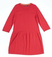 7969^ Gudrun Sjoden Casual Comfy Oversized Red Knitted A-Line Dress Sz L UK 12