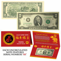 2020 Lunar Chinese New YEAR of the RAT Lucky U.S. $2 Bill w/ Red Folder - S/N 88