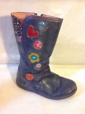 Girls Agatha Ruiz De La Prada Grey Leather Boots Size 29