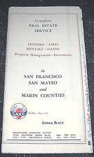 Vintage 1970s San Francisco, San Mateo & Marin Counties Real Estate Map