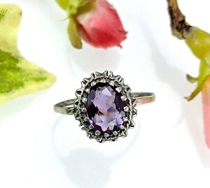 Antique Vintage Oval Silver Amethyst Ring, Size Q 1/2