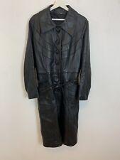 Vintage Long Leather Belted Trench Coat Jacket Black Belt Retro Medium M Men's